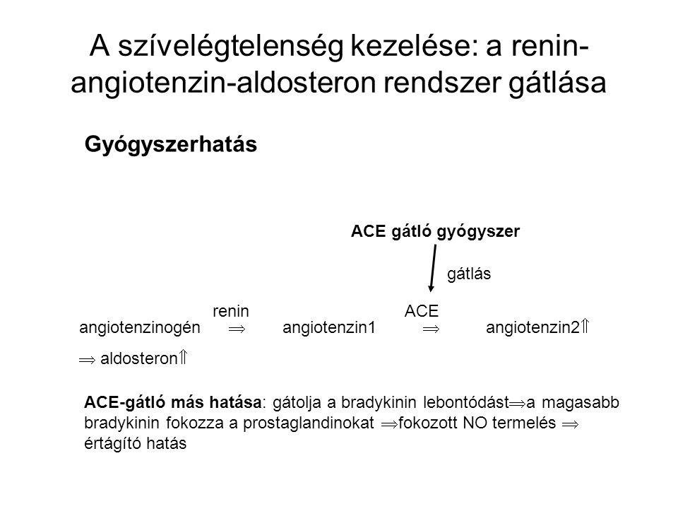 angiotenzinogén  angiotenzin1  angiotenzin2   aldosteron  reninACE ACE gátló gyógyszer gátlás ACE-gátló más hatása: gátolja a bradykinin lebontód