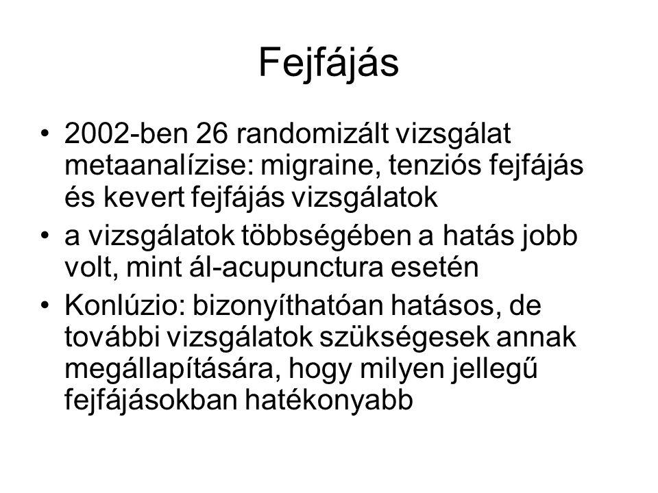 Fejfájás 2002-ben 26 randomizált vizsgálat metaanalízise: migraine, tenziós fejfájás és kevert fejfájás vizsgálatok a vizsgálatok többségében a hatás