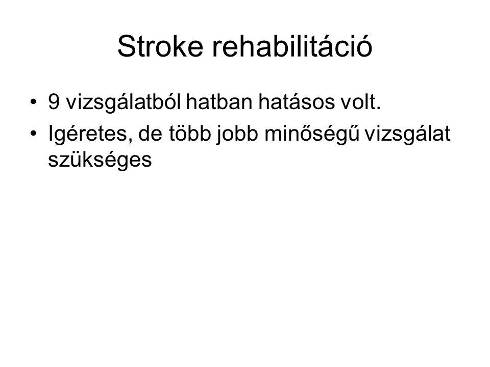 Stroke rehabilitáció 9 vizsgálatból hatban hatásos volt. Igéretes, de több jobb minőségű vizsgálat szükséges