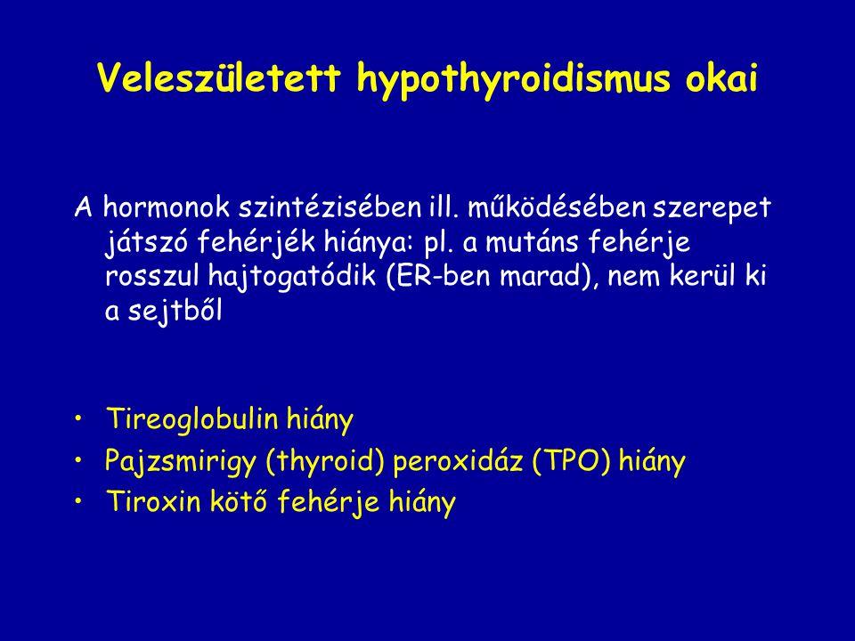 Veleszületett hypothyroidismus okai A hormonok szintézisében ill. működésében szerepet játszó fehérjék hiánya: pl. a mutáns fehérje rosszul hajtogatód
