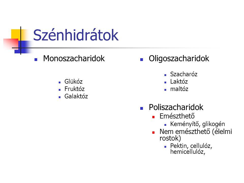Szénhidrátok Monoszacharidok Glükóz Fruktóz Galaktóz Oligoszacharidok Szacharóz Laktóz maltóz Poliszacharidok Emészthető Keményítő, glikogén Nem emész