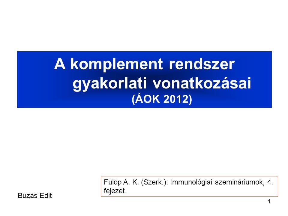 1 A komplement rendszer gyakorlati vonatkozásai (ÁOK 2012) Buzás Edit Fülöp A. K. (Szerk.): Immunológiai szemináriumok, 4. fejezet.