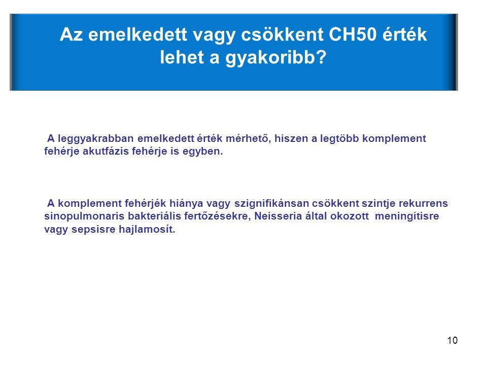 10 Az emelkedett vagy csökkent CH50 érték lehet a gyakoribb? A leggyakrabban emelkedett érték mérhető, hiszen a legtöbb komplement fehérje akutfázis f