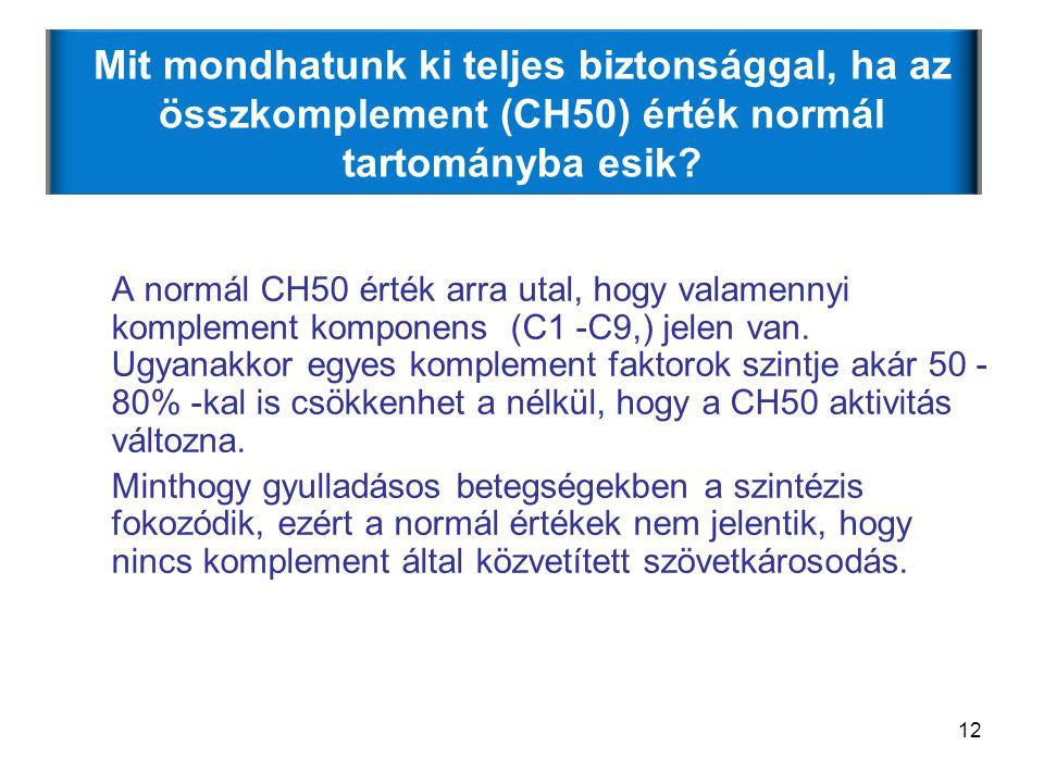 12 Mit mondhatunk ki teljes biztonsággal, ha az összkomplement (CH50) érték normál tartományba esik? A normál CH50 érték arra utal, hogy valamennyi ko