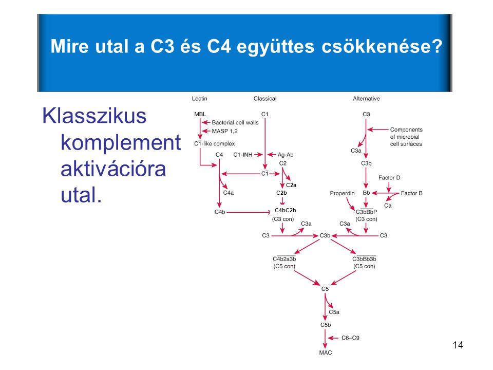 14 Mire utal a C3 és C4 együttes csökkenése? Klasszikus komplement aktivációra utal. C4bC2b C2b C2a