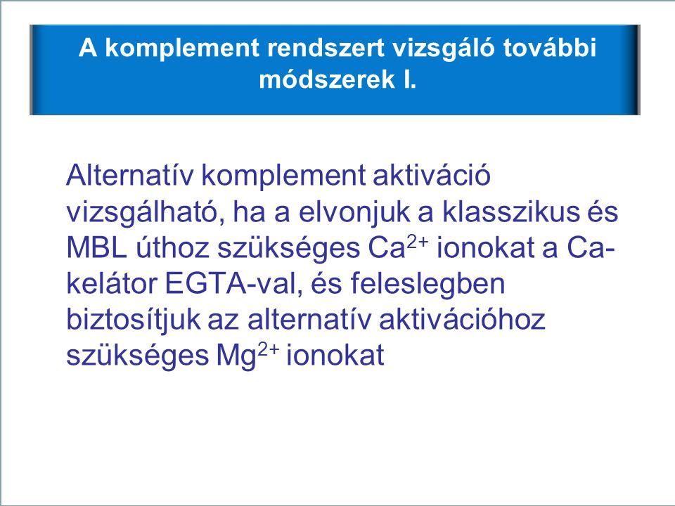 17 A komplement rendszert vizsgáló további módszerek I. Alternatív komplement aktiváció vizsgálható, ha a elvonjuk a klasszikus és MBL úthoz szükséges