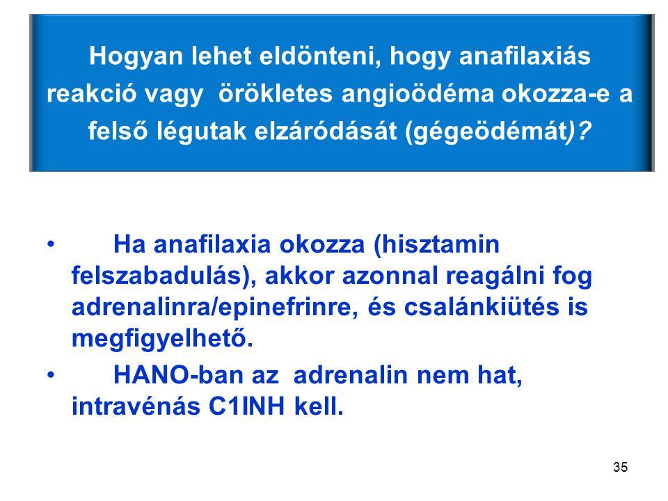 35 Ha anafilaxia okozza (hisztamin felszabadulás), akkor azonnal reagálni fog adrenalinra/epinefrinre, és csalánkiütés is megfigyelhető. HANO-ban az a