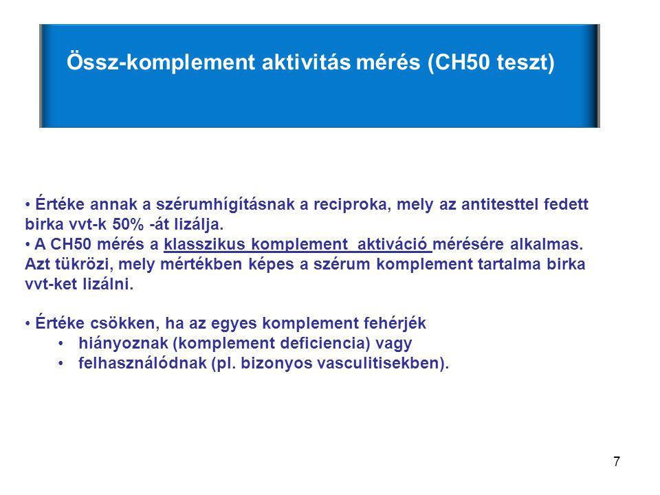 7 Értéke annak a szérumhígításnak a reciproka, mely az antitesttel fedett birka vvt-k 50% -át lizálja. A CH50 mérés a klasszikus komplement aktiváció