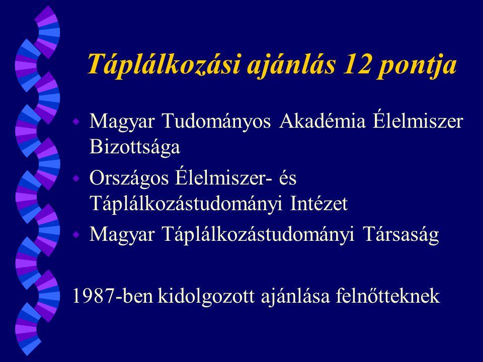 Táplálkozási ajánlás 12 pontja w Magyar Tudományos Akadémia Élelmiszer Bizottsága w Országos Élelmiszer- és Táplálkozástudományi Intézet w Magyar Táplálkozástudományi Társaság 1987-ben kidolgozott ajánlása felnőtteknek