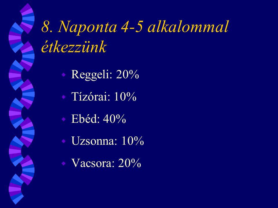 8. Naponta 4-5 alkalommal étkezzünk w Reggeli: 20% w Tízórai: 10% w Ebéd: 40% w Uzsonna: 10% w Vacsora: 20%