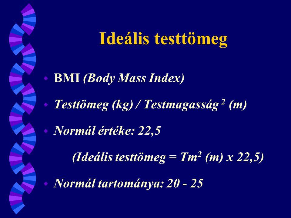 BMI (Body Mass Index) Normál (20-25) alatti kategóriák w 16 alatt - extrém soványság w 16-18 - kóros soványság w 18-20 - soványság