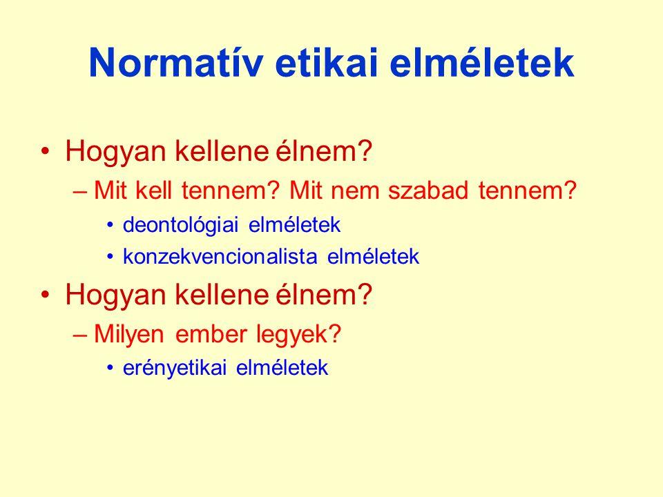 Normatív etikai elméletek Hogyan kellene élnem? –Mit kell tennem? Mit nem szabad tennem? deontológiai elméletek konzekvencionalista elméletek Hogyan k