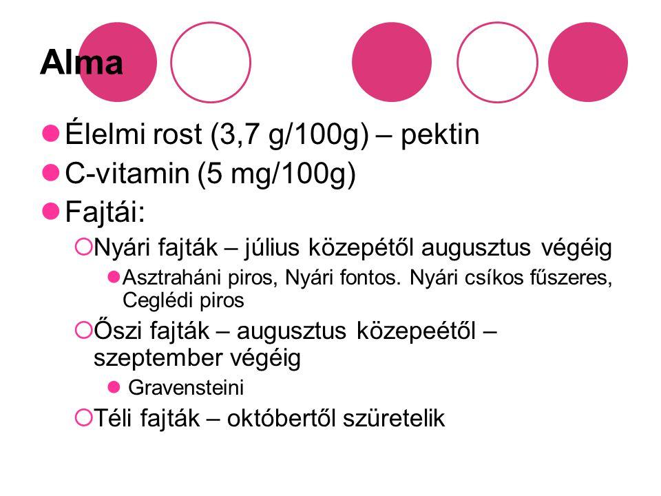 Alma Élelmi rost (3,7 g/100g) – pektin C-vitamin (5 mg/100g) Fajtái:  Nyári fajták – július közepétől augusztus végéig Asztraháni piros, Nyári fontos