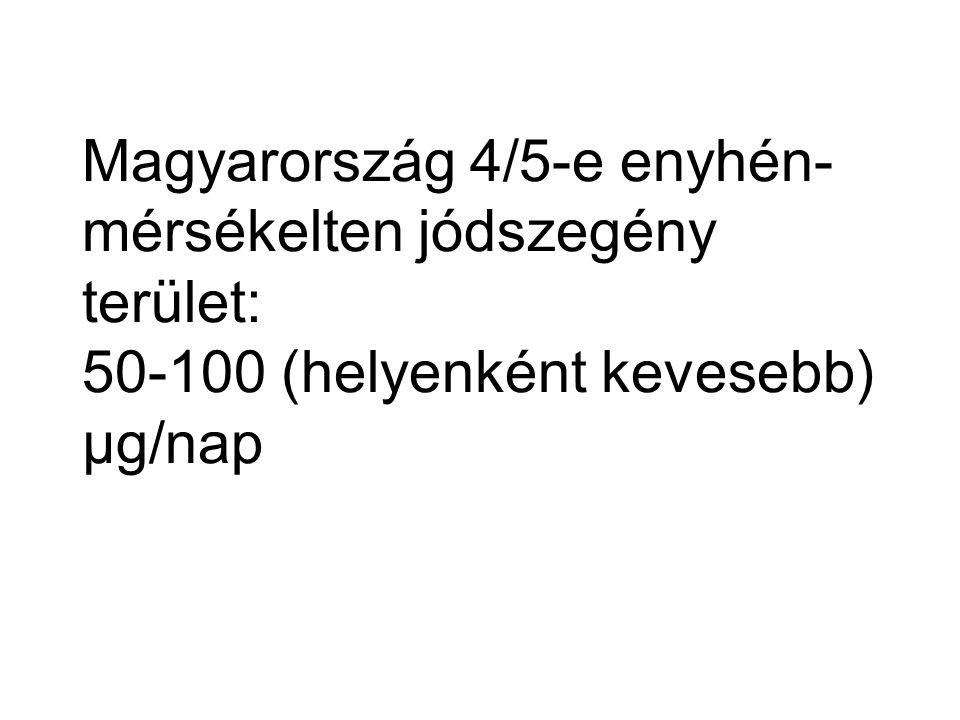 Magyarország 4/5-e enyhén- mérsékelten jódszegény terület: 50-100 (helyenként kevesebb) µg/nap