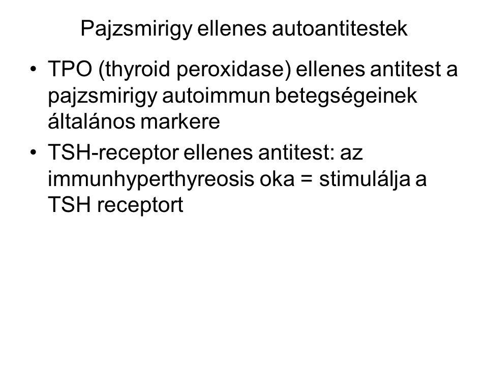Pajzsmirigy ellenes autoantitestek TPO (thyroid peroxidase) ellenes antitest a pajzsmirigy autoimmun betegségeinek általános markere TSH-receptor elle
