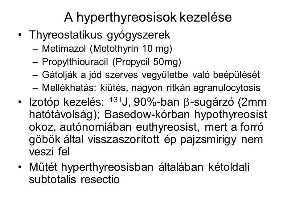 A hyperthyreosisok kezelése Thyreostatikus gyógyszerek –Metimazol (Metothyrin 10 mg) –Propylthiouracil (Propycil 50mg) –Gátolják a jód szerves vegyüle