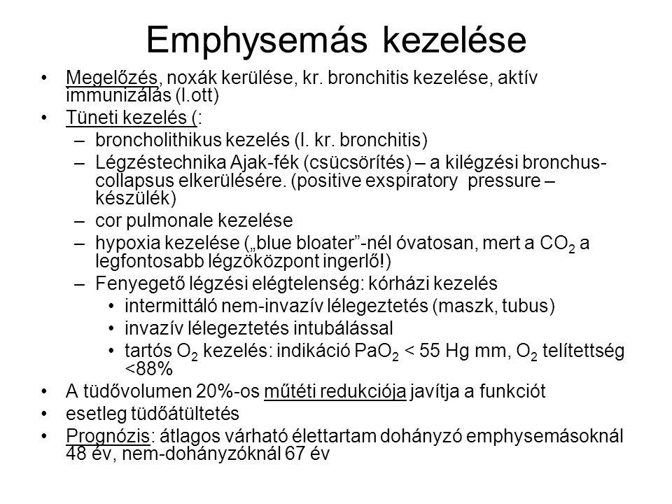 Emphysemás kezelése Megelőzés, noxák kerülése, kr. bronchitis kezelése, aktív immunizálás (l.ott) Tüneti kezelés (: –broncholithikus kezelés (l. kr. b
