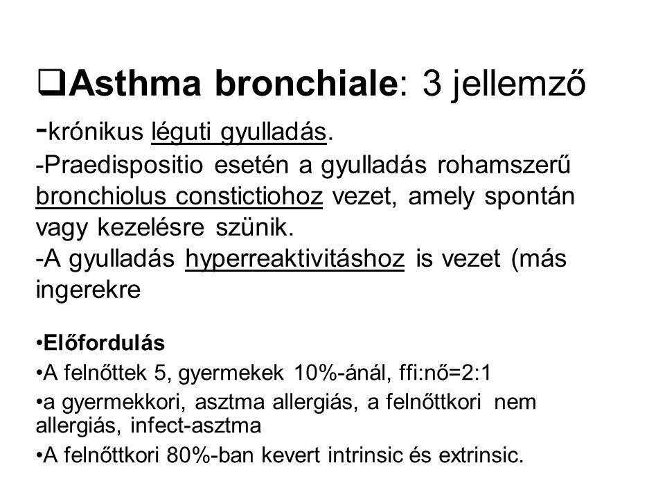  Asthma bronchiale: 3 jellemző - krónikus léguti gyulladás. -Praedispositio esetén a gyulladás rohamszerű bronchiolus constictiohoz vezet, amely spon