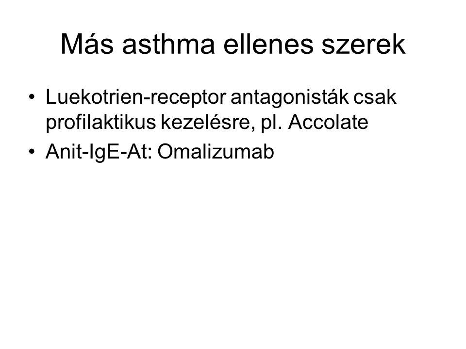 Más asthma ellenes szerek Luekotrien-receptor antagonisták csak profilaktikus kezelésre, pl. Accolate Anit-IgE-At: Omalizumab