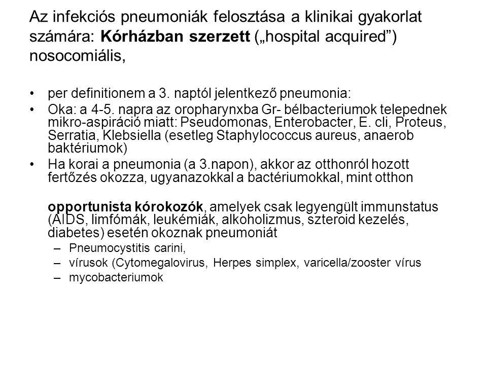 """Az infekciós pneumoniák felosztása a klinikai gyakorlat számára: Kórházban szerzett (""""hospital acquired"""") nosocomiális, per definitionem a 3. naptól j"""