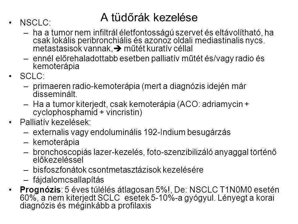 A tüdőrák kezelése NSCLC: –ha a tumor nem infiltrál életfontosságú szervet és eltávolítható, ha csak lokális peribronchiális és azonoz oldali mediastinalis nycs.