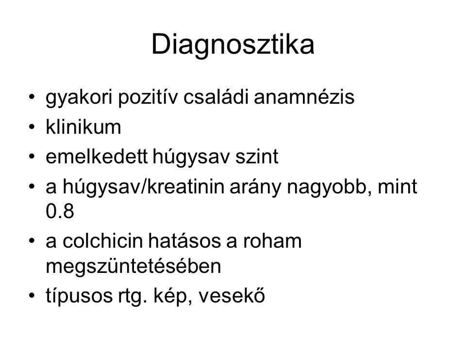 Diagnosztika gyakori pozitív családi anamnézis klinikum emelkedett húgysav szint a húgysav/kreatinin arány nagyobb, mint 0.8 a colchicin hatásos a roh
