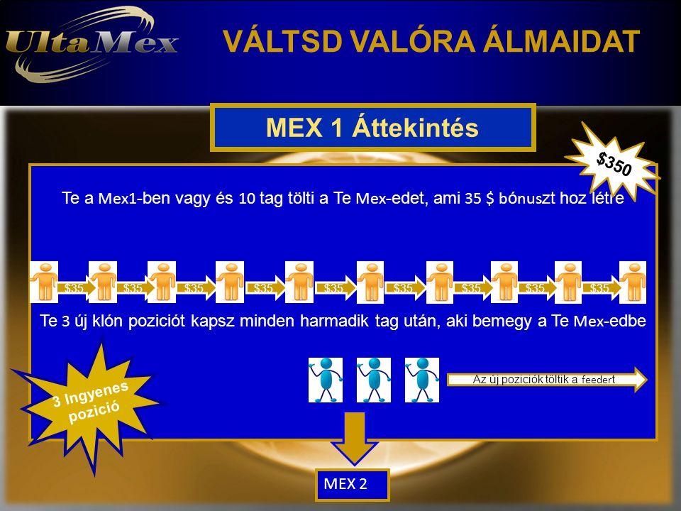 VÁLTSD VALÓRA ÁLMAIDAT Te a Mex1 -ben vagy és 10 tag tölti a Te Mex -edet, ami 35 $ b ó nus zt hoz létre Te 3 új klón poziciót kapsz minden harmadik tag után, aki bemegy a Te Mex -edbe $35 Az új poziciók töltik a feeder t MEX 2 $350 MEX 1 Áttekintés 3 Ingyenes pozició