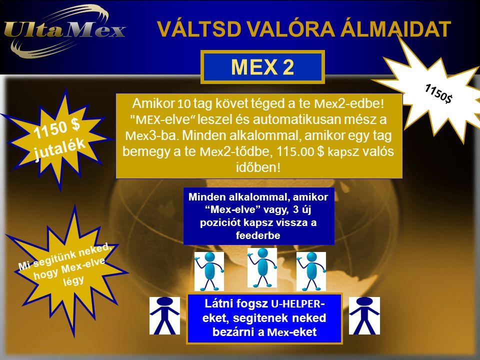 VÁLTSD VALÓRA ÁLMAIDAT 11 50$ jutalék Mi segitünk neked, hogy Mex-elve légy MEX 2 Amikor 10 tag követ téged a te Mex 2-edbe !