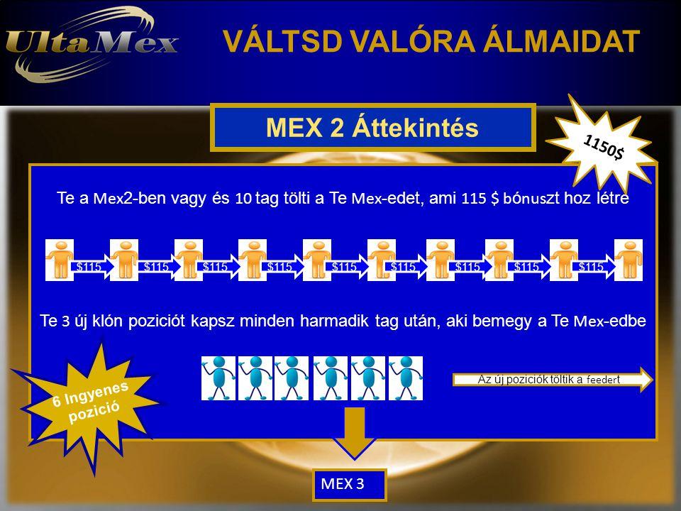 VÁLTSD VALÓRA ÁLMAIDAT MEX 2 Áttekintés Te a Mex 2-ben vagy és 10 tag tölti a Te Mex -edet, ami 115 $ b ó nus zt hoz létre Te 3 új klón poziciót kapsz minden harmadik tag után, aki bemegy a Te Mex -edbe $115 Az új poziciók töltik a feeder t 6 Ingyenes pozició 1150$ MEX 3