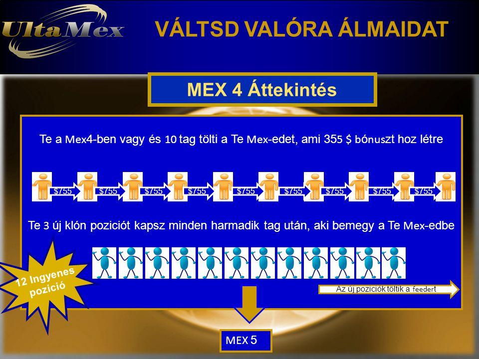 VÁLTSD VALÓRA ÁLMAIDAT MEX 4 Áttekintés Te a Mex 4-ben vagy és 10 tag tölti a Te Mex -edet, ami 35 5 $ b ó nus zt hoz létre Te 3 új klón poziciót kapsz minden harmadik tag után, aki bemegy a Te Mex -edbe 12 Ingyenes pozició $755 Az új poziciók töltik a feeder t MEX 5