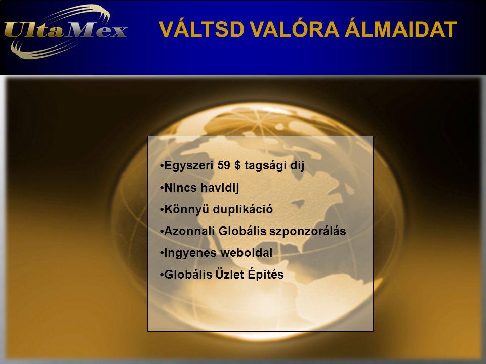 VÁLTSD VALÓRA ÁLMAIDAT Egyszeri 59 $ tagsági dij Nincs havidij Könnyü duplikáció Azonnali Globális szponzorálás Ingyenes weboldal Globális Üzlet Épités