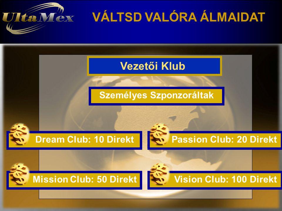 VÁLTSD VALÓRA ÁLMAIDAT Vezetői Klub Személyes Szponzoráltak Dream Club: 10 Direkt Passion Club: 20 Direkt Vision Club: 100 Direkt Mission Club: 50 Dir