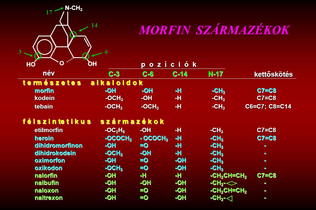 t e rm é s z e t e s a l k a l o i d o k morfin-OH -OH-H -CH 3 C7=C8 kodein -OCH 3 -OH -H -CH 3 C7=C8 tebain -OCH 3 -OCH 3 -H -CH 3 C6=C7; C8=C14 f é