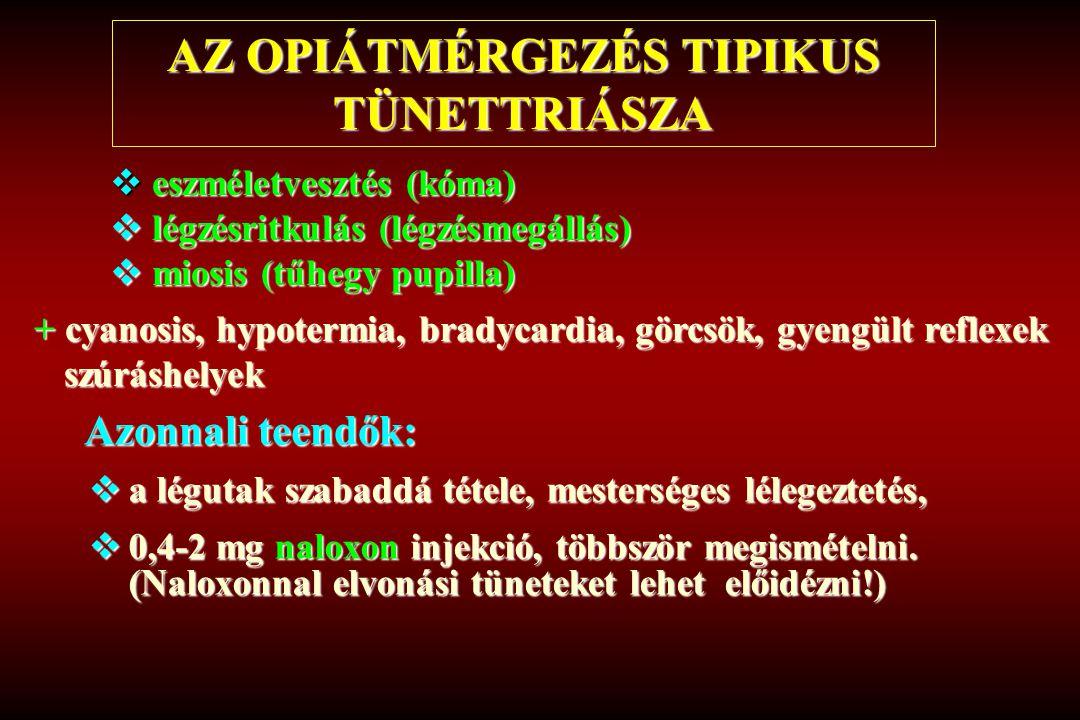 AZ OPIÁTMÉRGEZÉS TIPIKUS TÜNETTRIÁSZA  eszméletvesztés (kóma)  légzésritkulás (légzésmegállás)  miosis (tűhegy pupilla) + cyanosis, hypotermia, bra