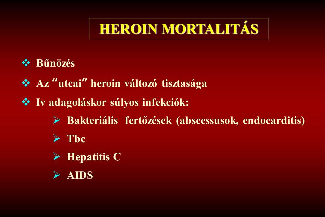 """HEROIN MORTALITÁS  Bűnözés  Az """"utcai"""" heroin változó tisztasága  Iv adagoláskor súlyos infekciók:  Bakteriális fertőzések (abscessusok, endocardi"""