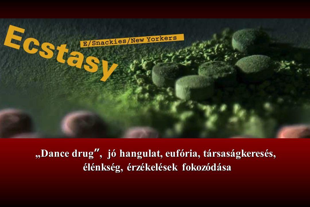 """""""Dance drug"""", jó hangulat, eufória, társaságkeresés, élénkség, érzékelések fokozódása"""
