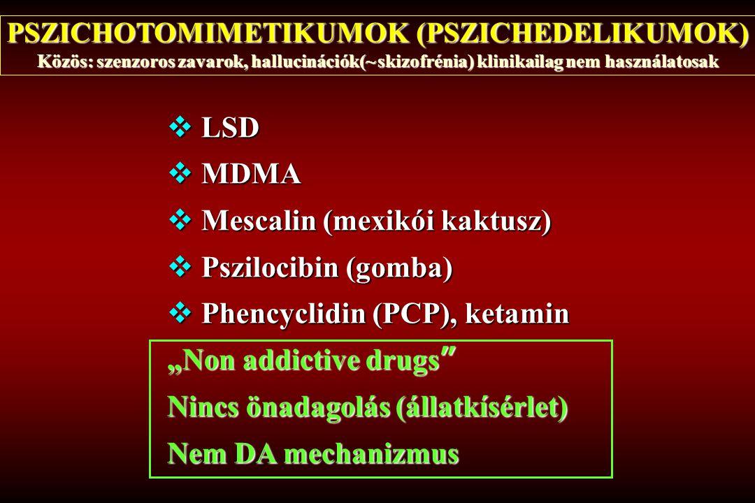 PSZICHOTOMIMETIKUMOK (PSZICHEDELIKUMOK) Közös: szenzoros zavarok, hallucinációk(~ skizofrénia) klinikailag nem használatosak  LSD  MDMA  Mescalin (