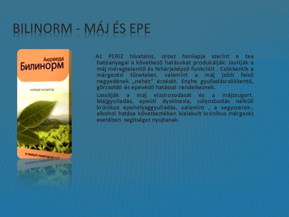 Az PCRIZ hivatalos, orosz honlapja szerint e tea hatóanyagai a következő hatásokat produkálják: Javítják a máj méregtelenítő és fehérjeképző funkcióit.