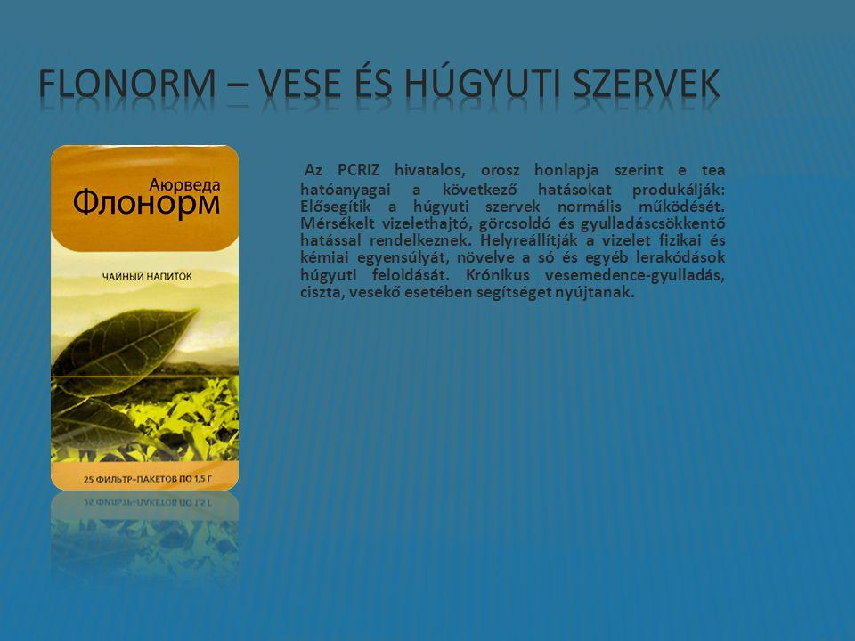 Az PCRIZ hivatalos, orosz honlapja szerint e tea hatóanyagai a következő hatásokat produkálják: Elősegítik a húgyuti szervek normális működését. Mérsé