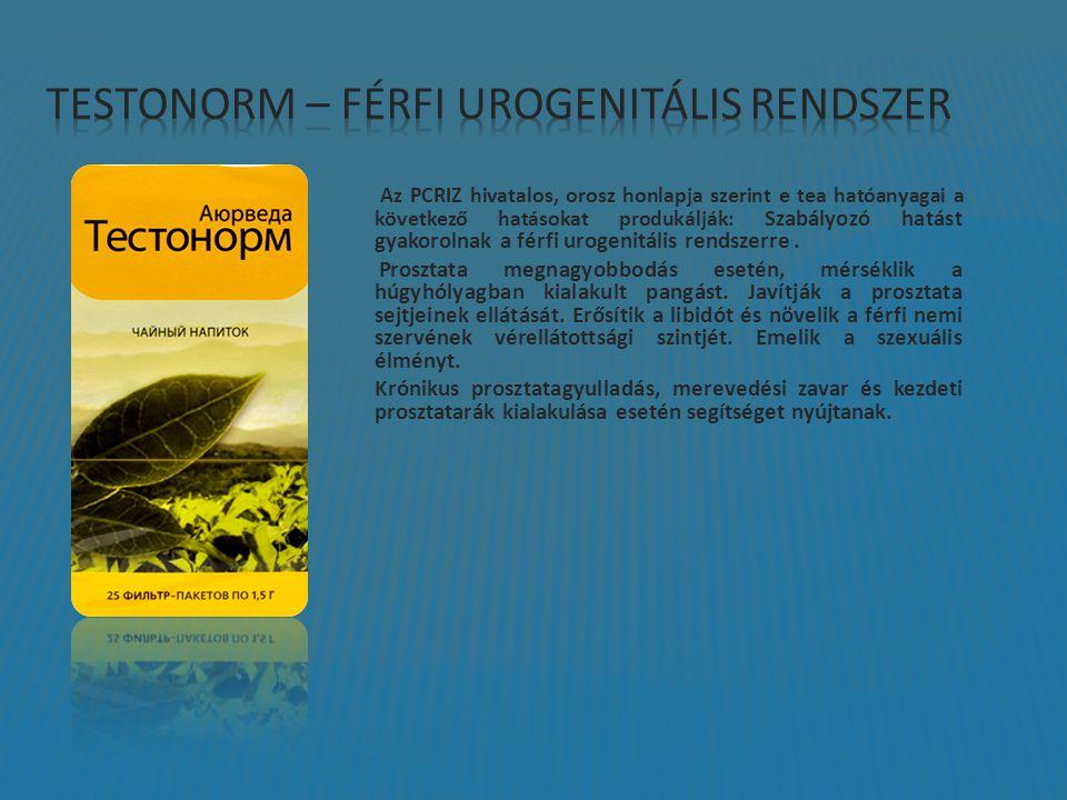 Az PCRIZ hivatalos, orosz honlapja szerint e tea hatóanyagai a következő hatásokat produkálják: Szabályozó hatást gyakorolnak a férfi urogenitális rendszerre.