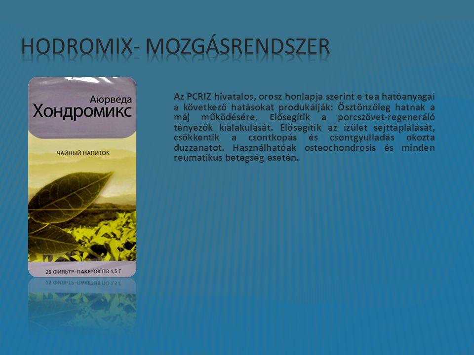 Az PCRIZ hivatalos, orosz honlapja szerint e tea hatóanyagai a következő hatásokat produkálják: Ösztönzőleg hatnak a máj működésére. Elősegítik a porc