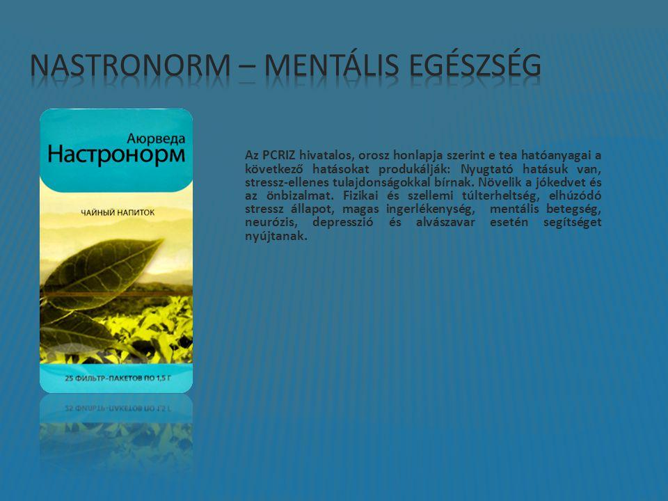 Az PCRIZ hivatalos, orosz honlapja szerint e tea hatóanyagai a következő hatásokat produkálják: Nyugtató hatásuk van, stressz-ellenes tulajdonságokkal bírnak.