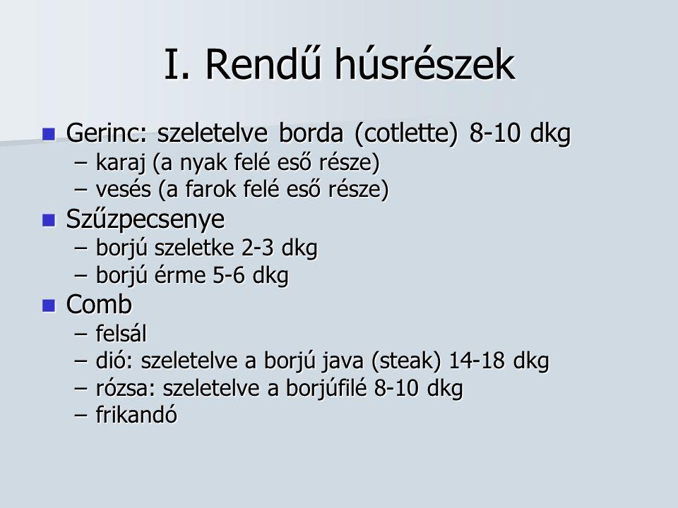 I. Rendű húsrészek Gerinc: szeletelve borda (cotlette) 8-10 dkg Gerinc: szeletelve borda (cotlette) 8-10 dkg –karaj (a nyak felé eső része) –vesés (a