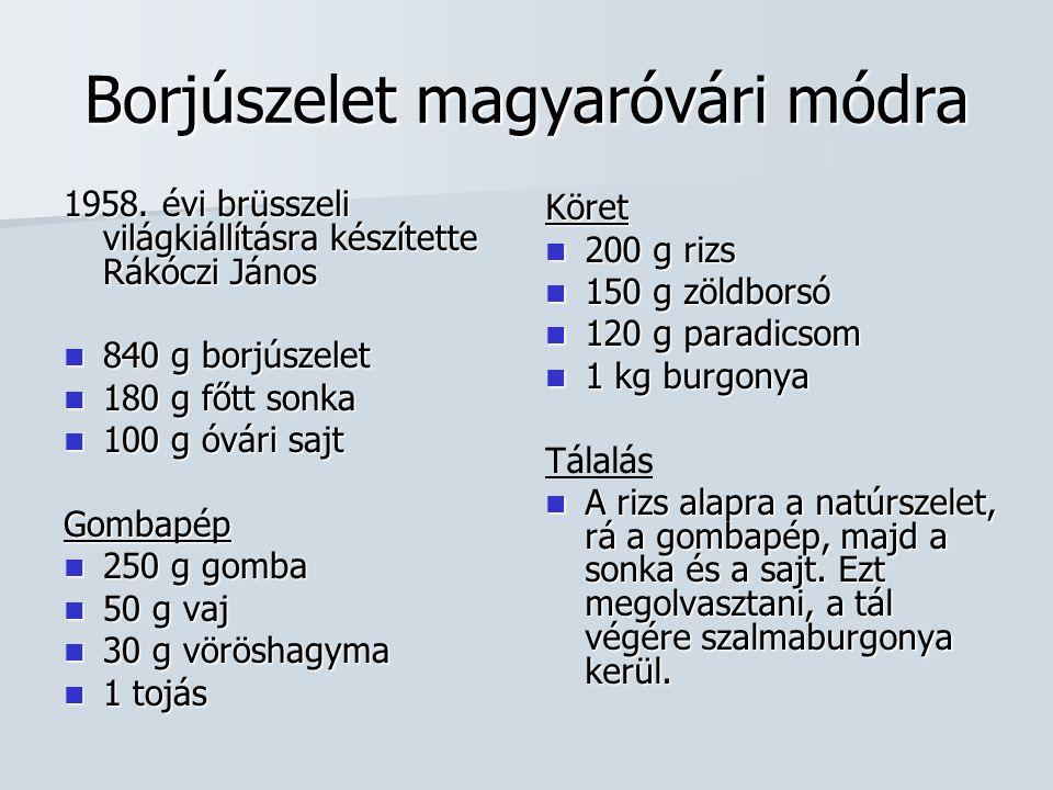 Borjúszelet magyaróvári módra 1958.