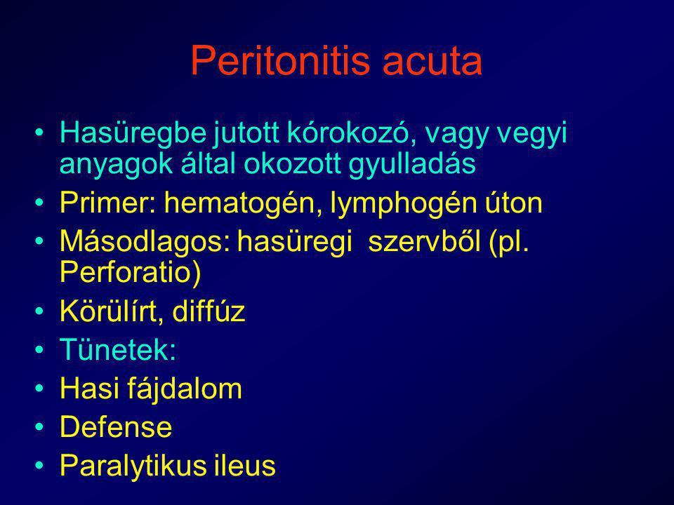 Peritonitis acuta Hasüregbe jutott kórokozó, vagy vegyi anyagok által okozott gyulladás Primer: hematogén, lymphogén úton Másodlagos: hasüregi szervbő