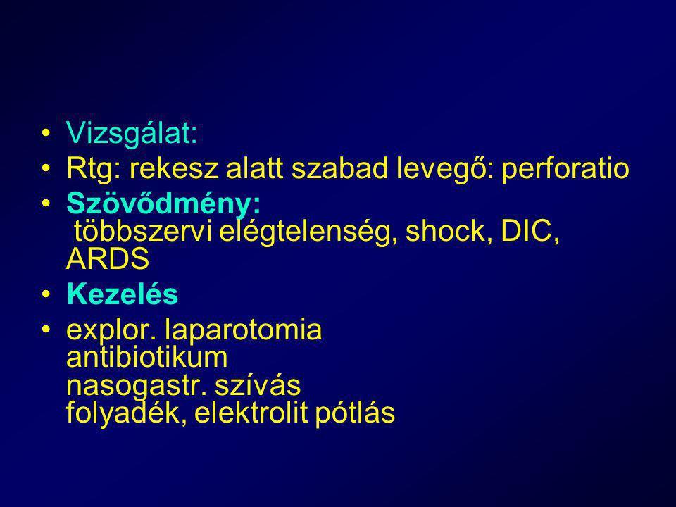 Vizsgálat: Rtg: rekesz alatt szabad levegő: perforatio Szövődmény: többszervi elégtelenség, shock, DIC, ARDS Kezelés explor. laparotomia antibiotikum
