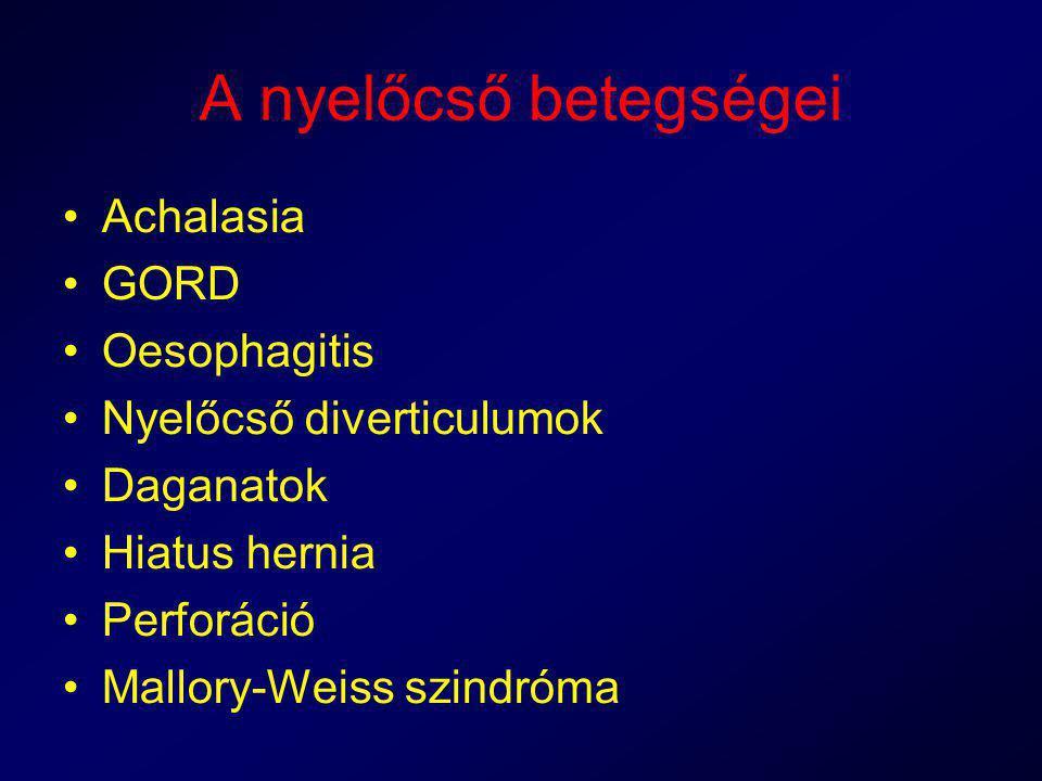 A nyelőcső betegségei Achalasia GORD Oesophagitis Nyelőcső diverticulumok Daganatok Hiatus hernia Perforáció Mallory-Weiss szindróma