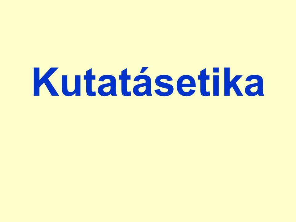 embriókísérletek –az embriók morális státusza emberen végzett kutatások –Helsinki Deklaráció állatkísérletek –az állatokkal való bánásmód etikai kérdései Peter Singer: antiszpécieszizmus (utilitarista) Tom Regan: az állatok jogai (deontológiai)