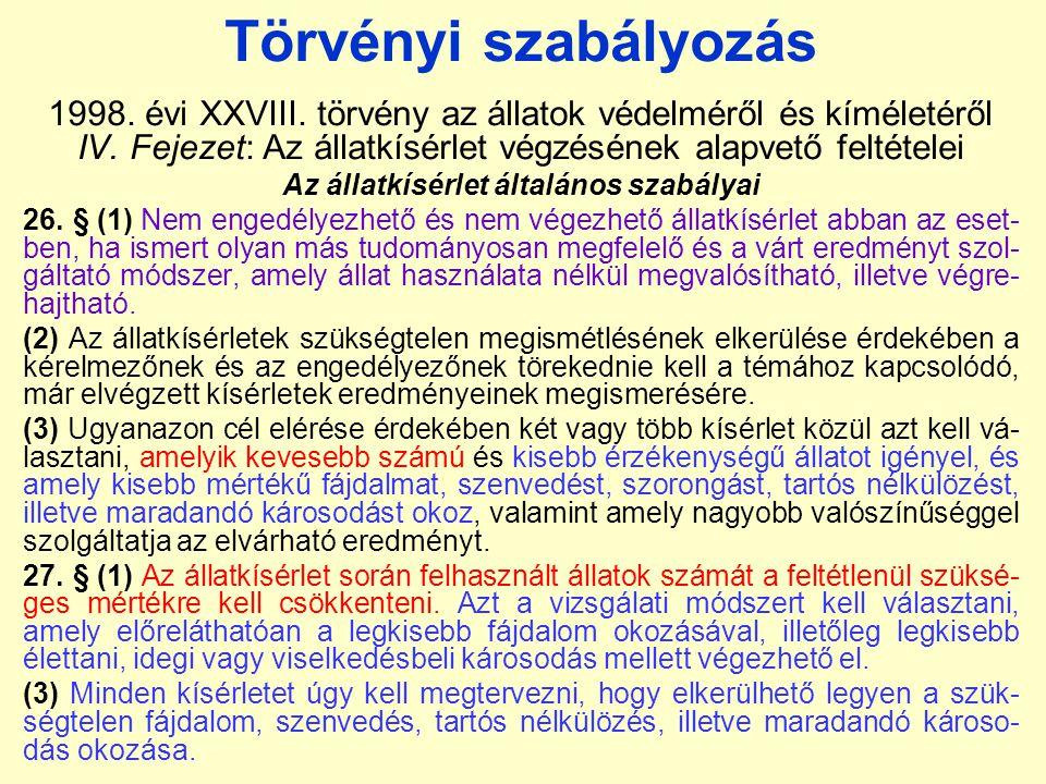 Törvényi szabályozás 1998.évi XXVIII. törvény az állatok védelméről és kíméletéről IV.