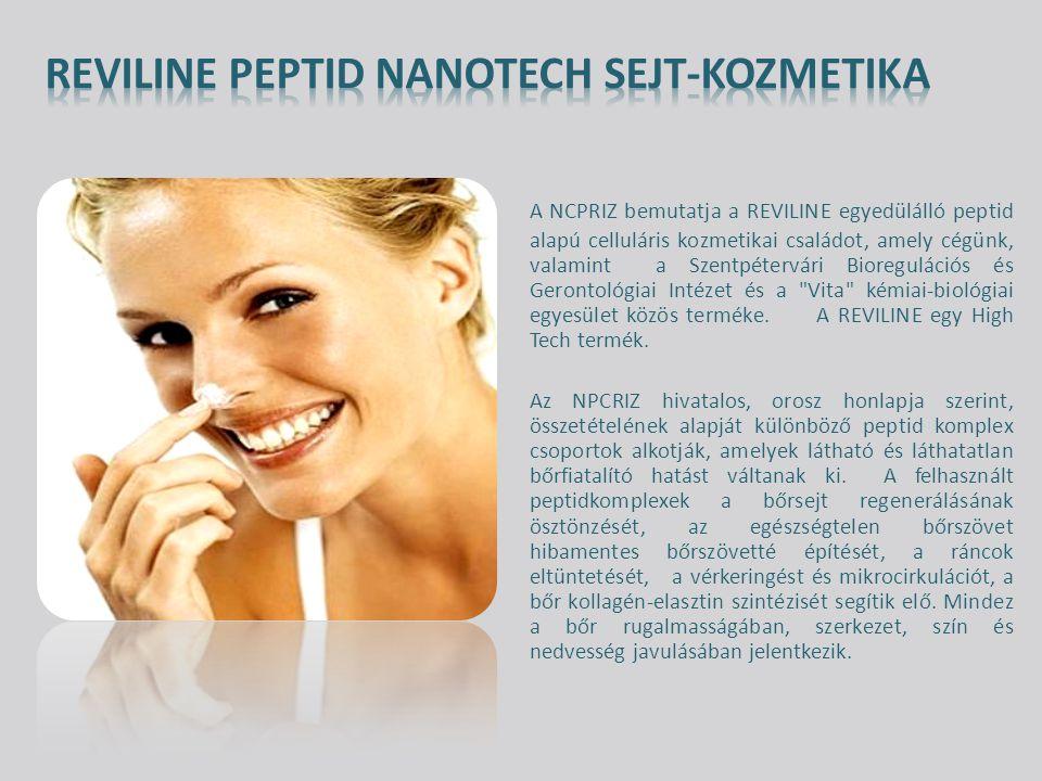 A NCPRIZ bemutatja a REVILINE egyedülálló peptid alapú celluláris kozmetikai családot, amely cégünk, valamint a Szentpétervári Bioregulációs és Gerontológiai Intézet és a Vita kémiai-biológiai egyesület közös terméke.